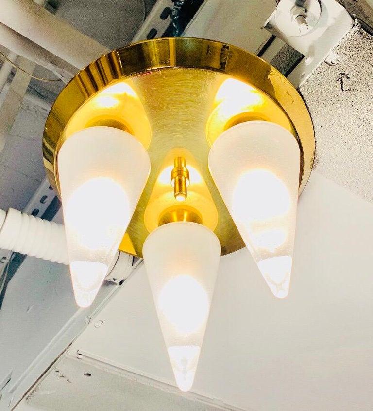 Mid-Century Modern Kalmar Murano Glass 1970s Flush Ceiling Light For Sale