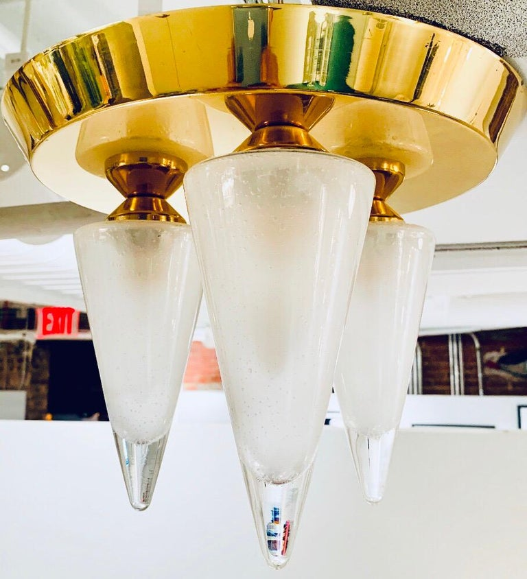 Kalmar Murano Glass 1970s Flush Ceiling Light In Excellent Condition For Sale In New York, NY