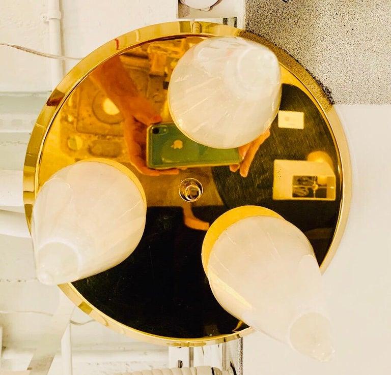 Brass Kalmar Murano Glass 1970s Flush Ceiling Light For Sale