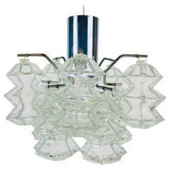 "Kalmar ""Pagoda"" Midcentury Glass Chandelier, circa 1960s"
