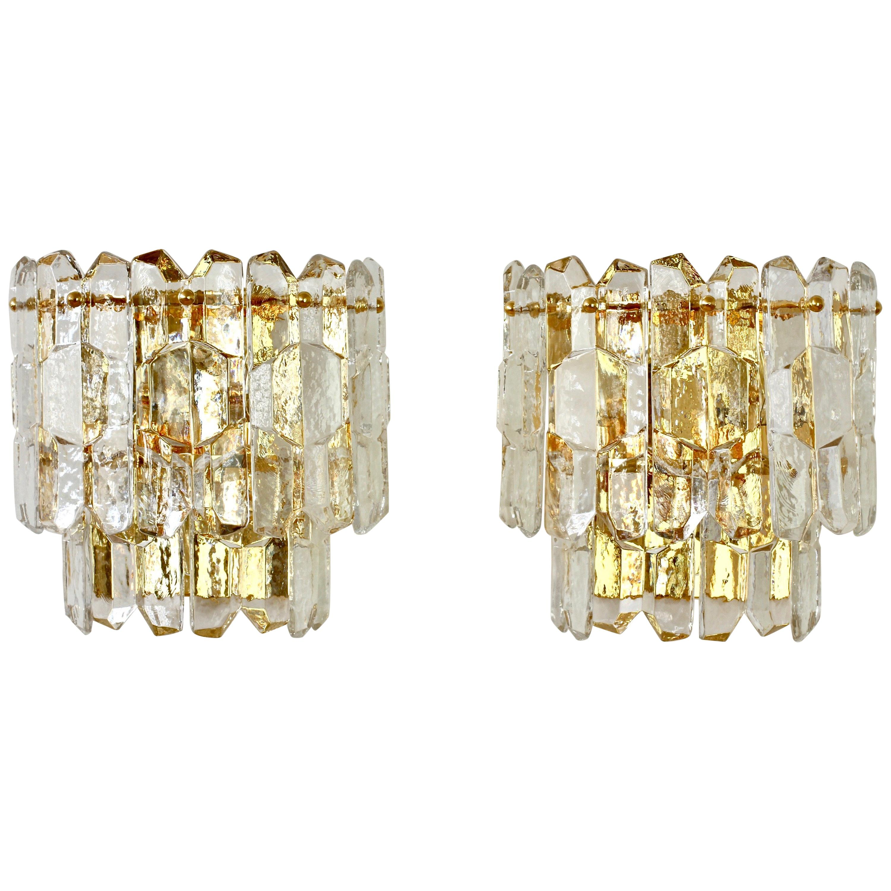 """Kalmar Pair of Large """"Palazzo"""" Ice Crystal Glass Austrian Wall Lights or Sconces"""