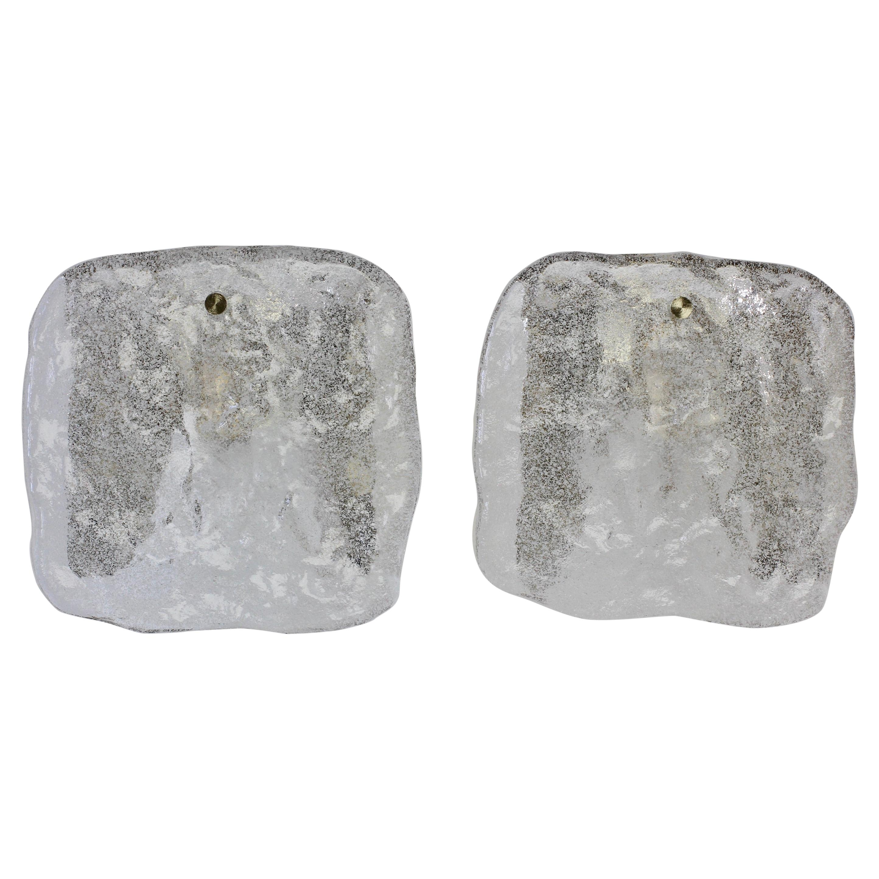 "Kalmar Pair of Pulegoso ""Foam"" Glass Wall Lights or Vanity Sconces /Lamps, 1970s"