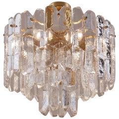 "Kalmar Palazzo Flush Light, Brutalist ""Ice Effect"" Glass and Gilt Brass"