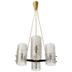 Kalmar Pendant Light or Chandelier, Brass Glass, 1960