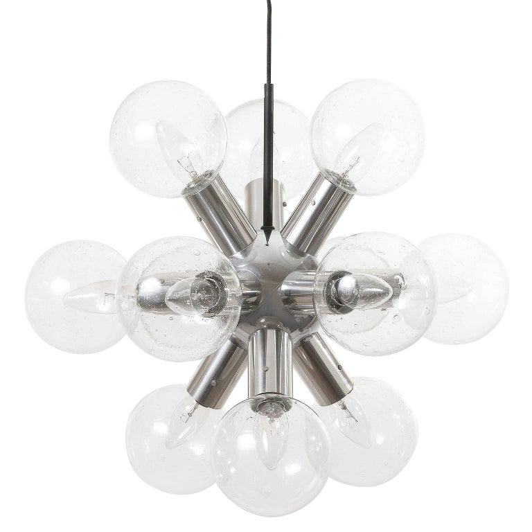 Austrian Kalmar Sputnik Chandelier or Pendant Light 'RS 12', Aluminum Glass, 1970, 1 of 2 For Sale