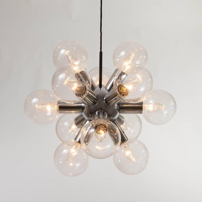 Late 20th Century Kalmar Sputnik Chandelier or Pendant Light 'RS 12', Aluminum Glass, 1970, 1 of 2 For Sale
