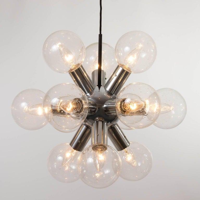 Kalmar Sputnik Chandelier or Pendant Light 'RS 12', Aluminum Glass, 1970, 1 of 2 For Sale 1