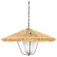 Kalmar Straw Pendant Lamp Stube with Satin Glass, Austria, Circa 1955