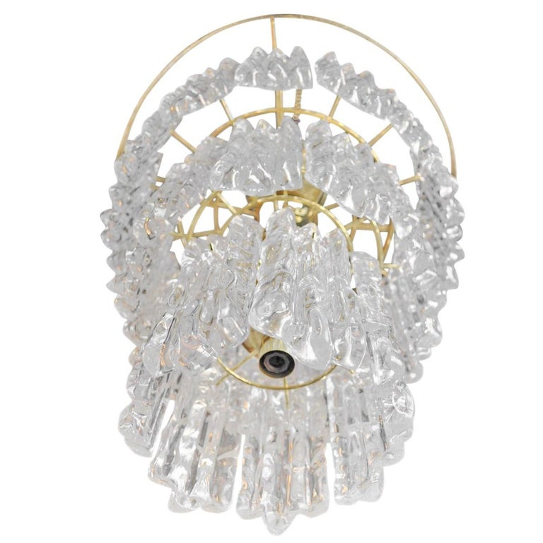 Italian Kalmar Style Lucite and Brass Ice Waterfall Tiered Chandelier, Italy For Sale