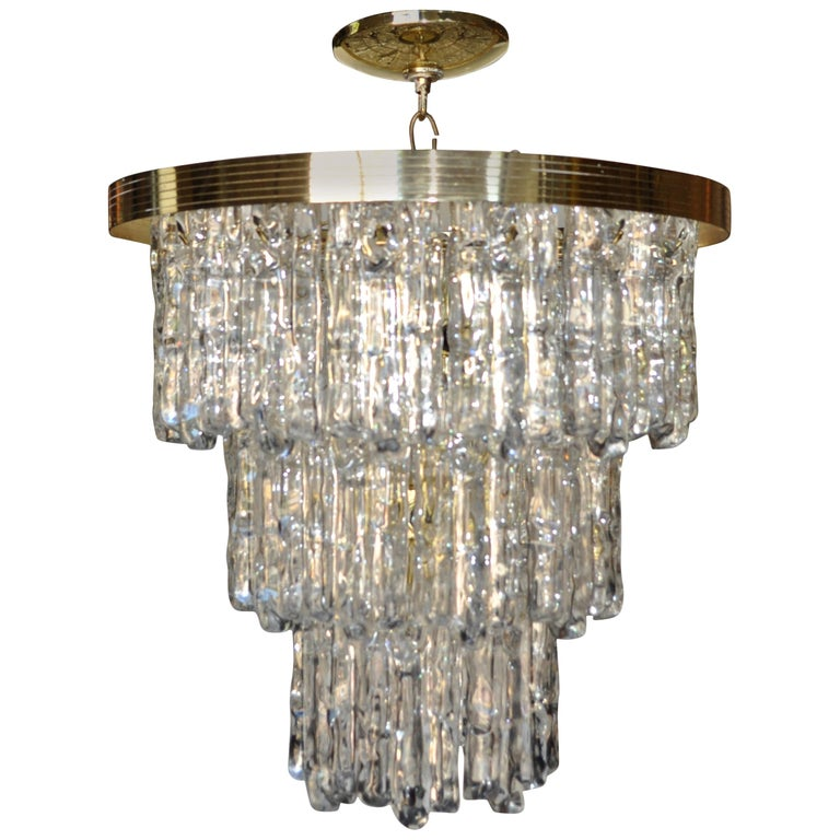 Kalmar Style Lucite and Brass Ice Waterfall Tiered Chandelier, Italy For Sale