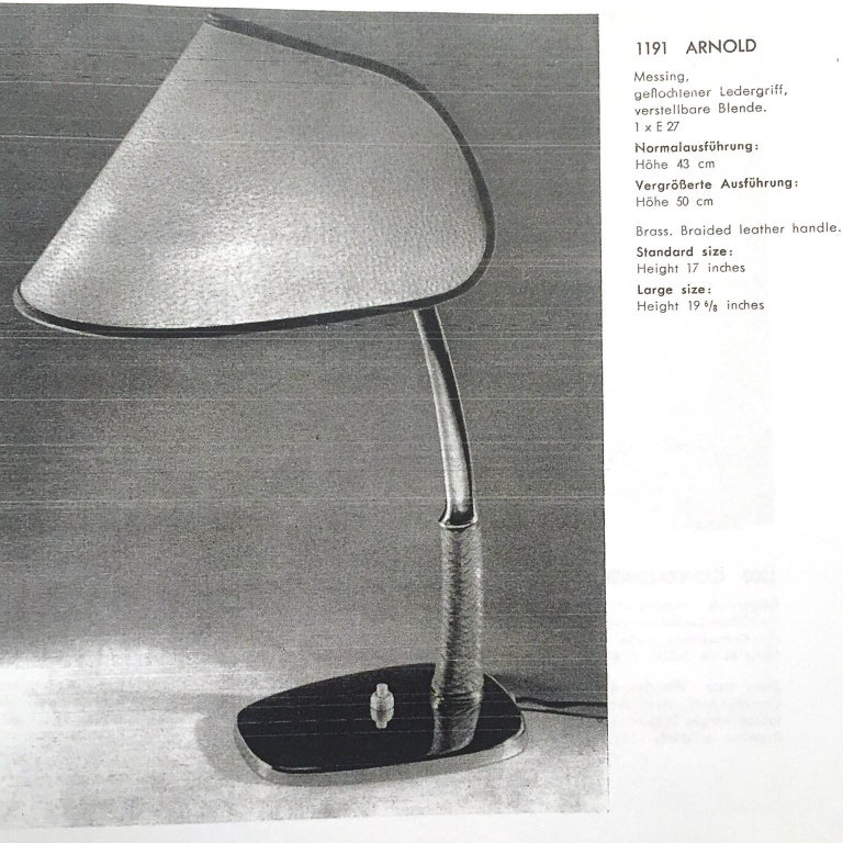 Kalmar Table Lamp 'Arnold' Mod. 1191, Brass Braided Leather, Austria, 1960 For Sale 2