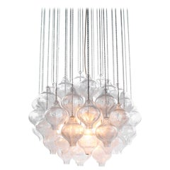 1960s Austria Kalmar 'Tulipan' Chandelier Pendant Light Blown Glass
