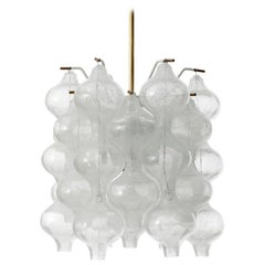 Kalmar 'Tulipan' Chandelier Pendant Light, Glass Brass, 1970, 1 of 4