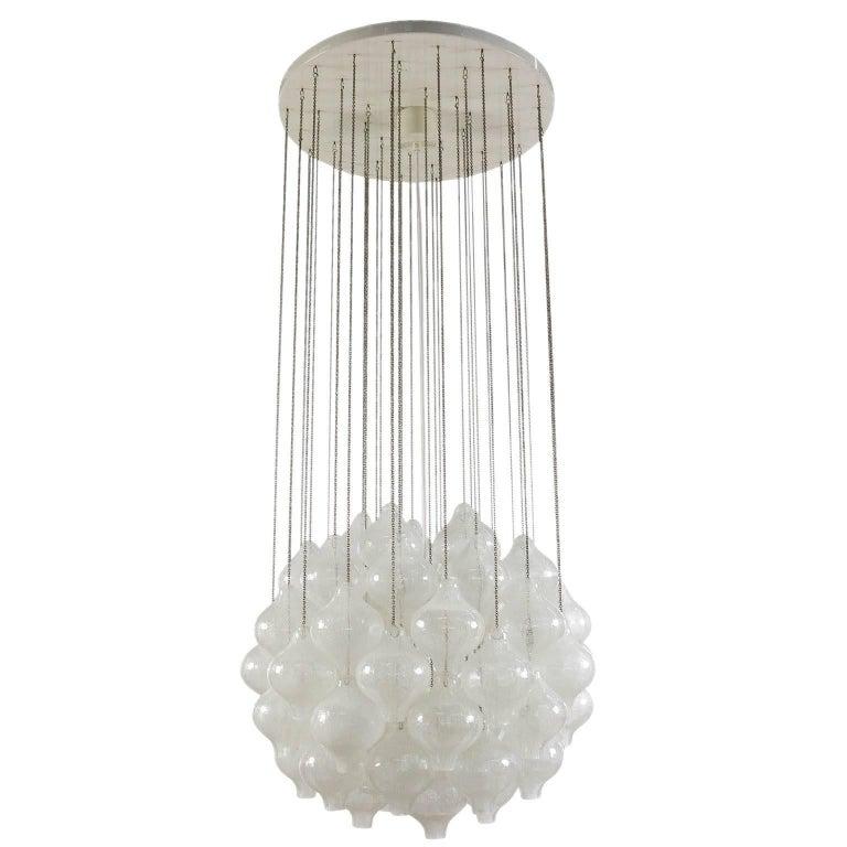 Kalmar 'Tulipan' Chandelier Pendant Light, Glass Brass, 1970 For Sale 6