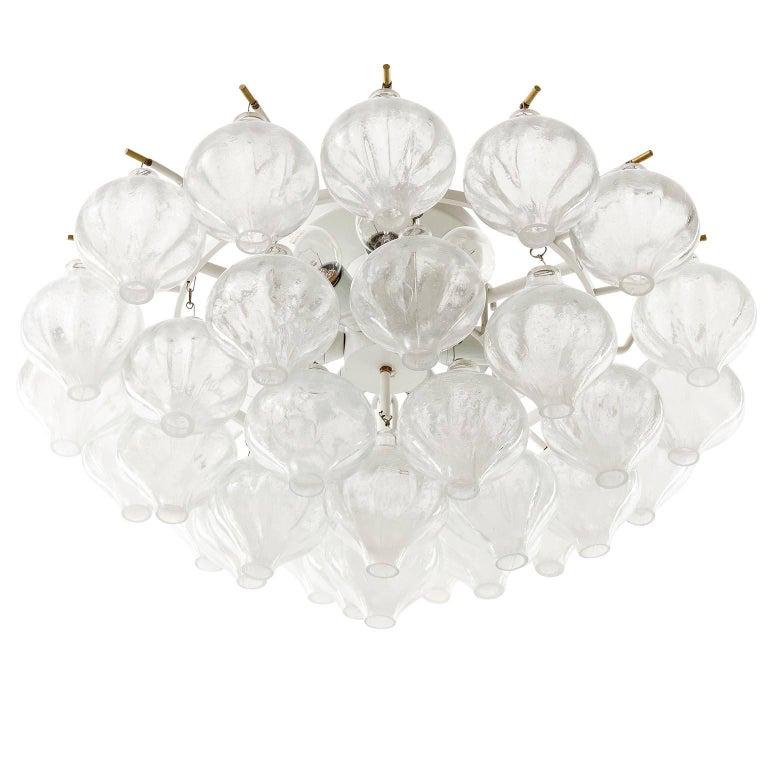 Kalmar 'Tulipan' Chandelier Pendant Light, Glass Brass, 1970 For Sale 7