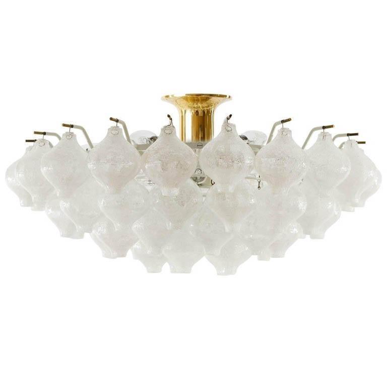 Kalmar 'Tulipan' Chandelier Pendant Light, Glass Brass, 1970 For Sale 9