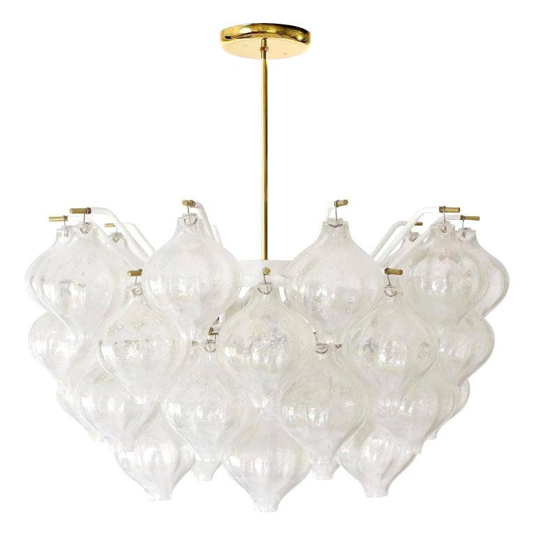 Kalmar 'Tulipan' Chandelier Pendant Light, Glass Brass, 1970 For Sale