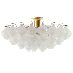Kalmar 'Tulipan' Flush Mount Light Chandelier, Murano Glass Brass, 1960s, 1 of 2