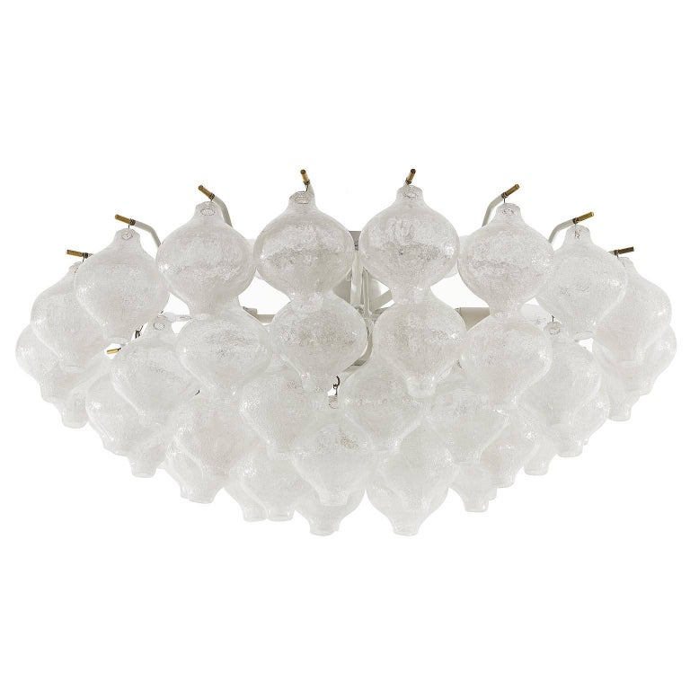 One of two large and fantastic 'Tulipan' flush mount chandeliers by J.T. Kalmar, Austria, Vienna, manufactured in midcentury, circa 1970 (late 1960s or early 1970s).