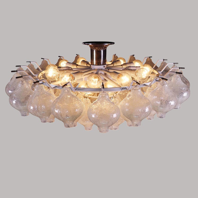 Late 20th Century Kalmar 'Tulipan' Flush Mount Light Chandelier, Murano Glass Brass, 1970, 1 of 2 For Sale