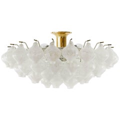 Kalmar 'Tulipan' Flush Mount Light Chandelier, Murano Glass Brass, 1970, 1 of 2