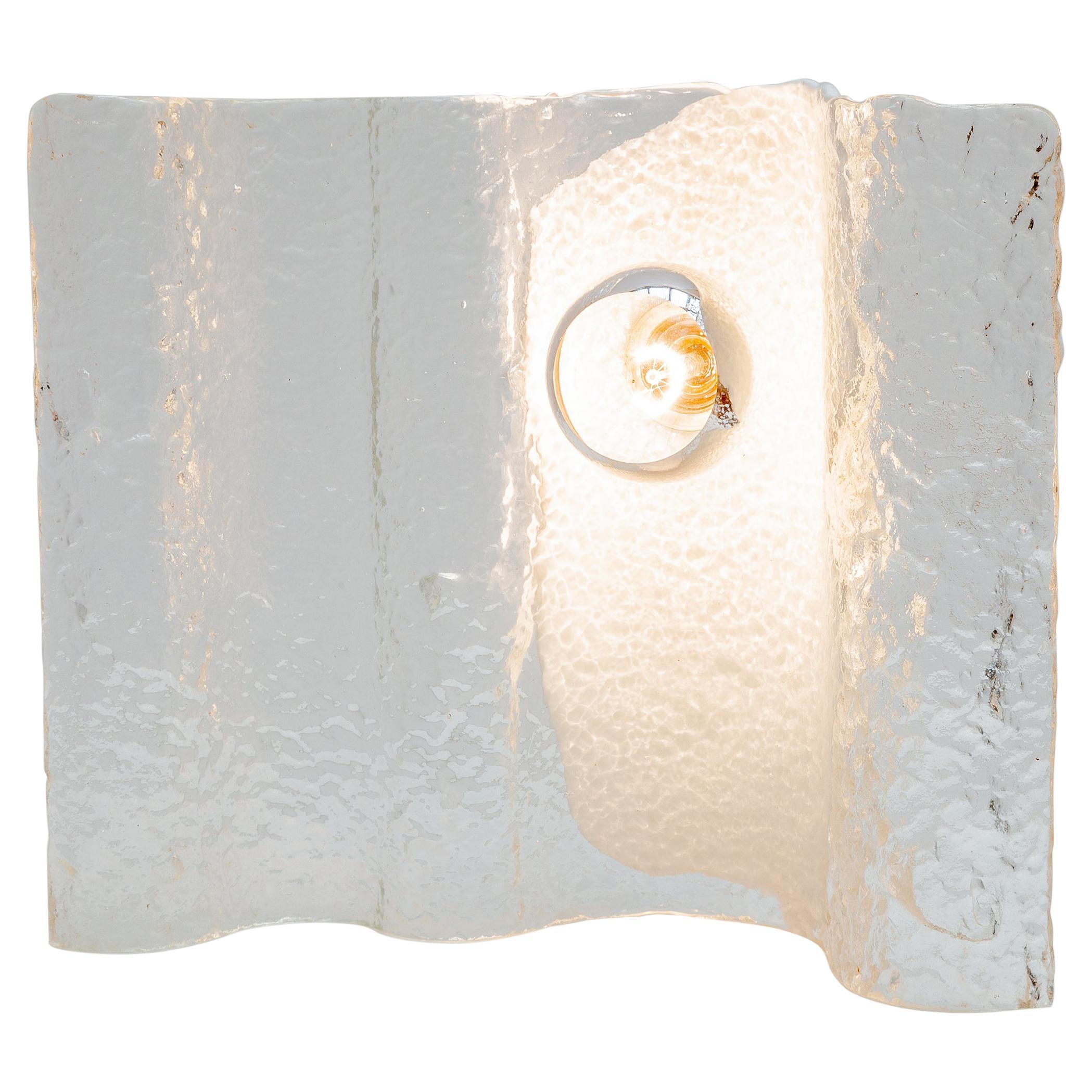 Kalmar Wave Ice Glass Table Lamp, 1970s
