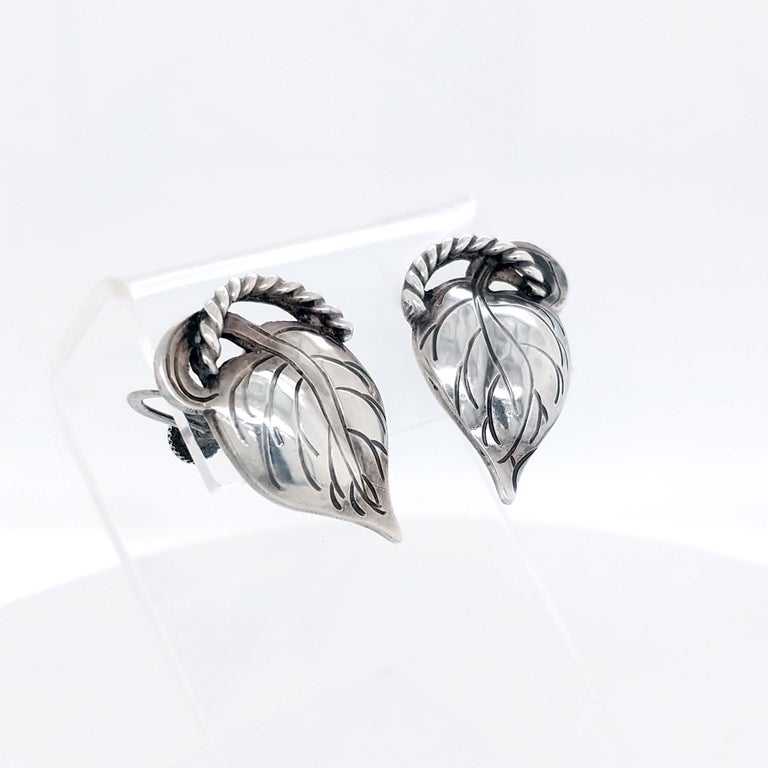Arts and Crafts Kalo Chicago Arts & Crafts Sterling Silver Leaf Earrings, 1910 For Sale