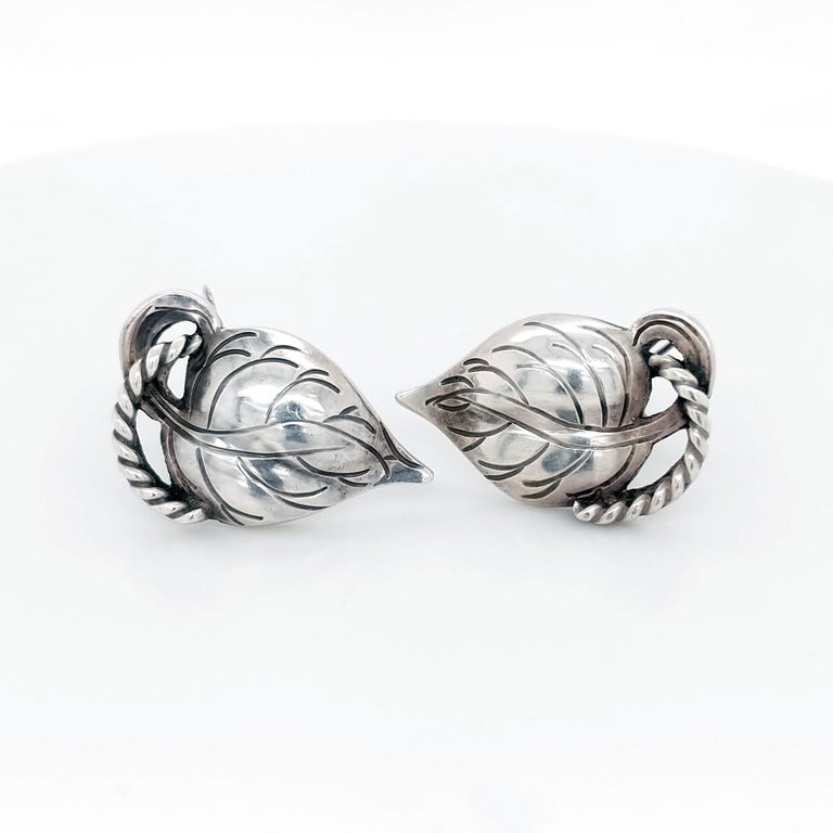 Women's or Men's Kalo Chicago Arts & Crafts Sterling Silver Leaf Earrings, 1910 For Sale