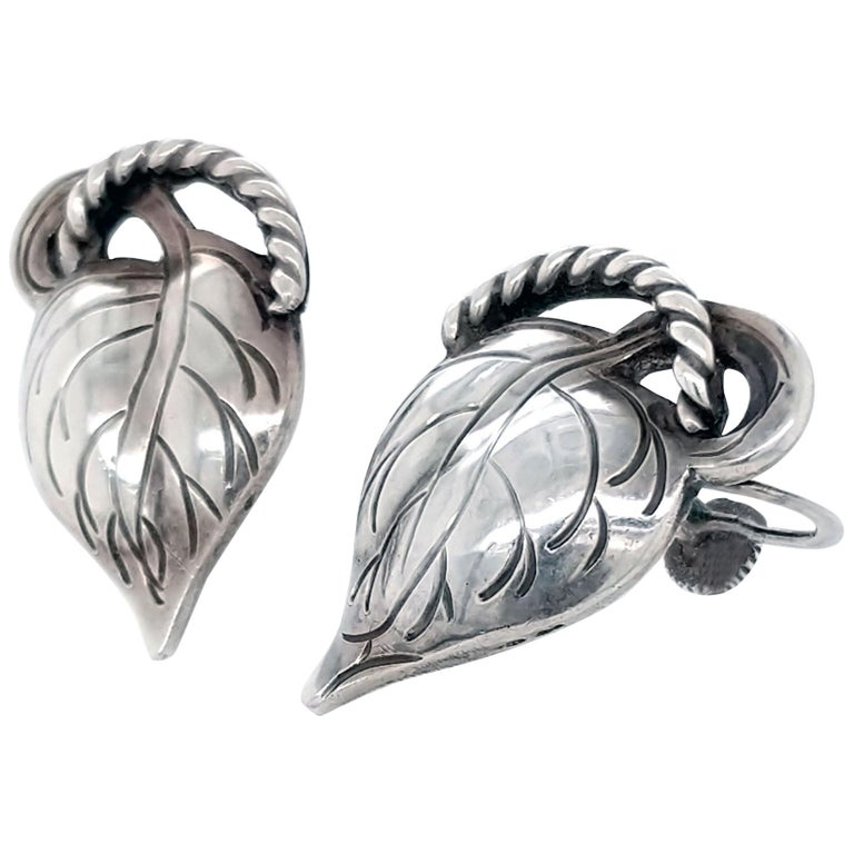Kalo Chicago Arts & Crafts Sterling Silver Leaf Earrings, 1910 For Sale