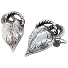Kalo Chicago Arts & Crafts Sterling Silver Leaf Earrings, 1910