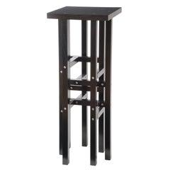 Kalyke 'In Stock' Modern Industrial Pedestal Table Metal & Geometric Black Wood