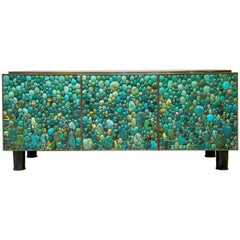 KAM TIN, Turquoise sideboard made of brass and turquoise, France, 2013