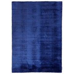 Kama Handwoven Shiny Velvetly Blue Rug by Deanna Comellini 170x240 cm