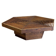 Kamal Amin Hexagonal Prairie School Style Oak Coffee Table