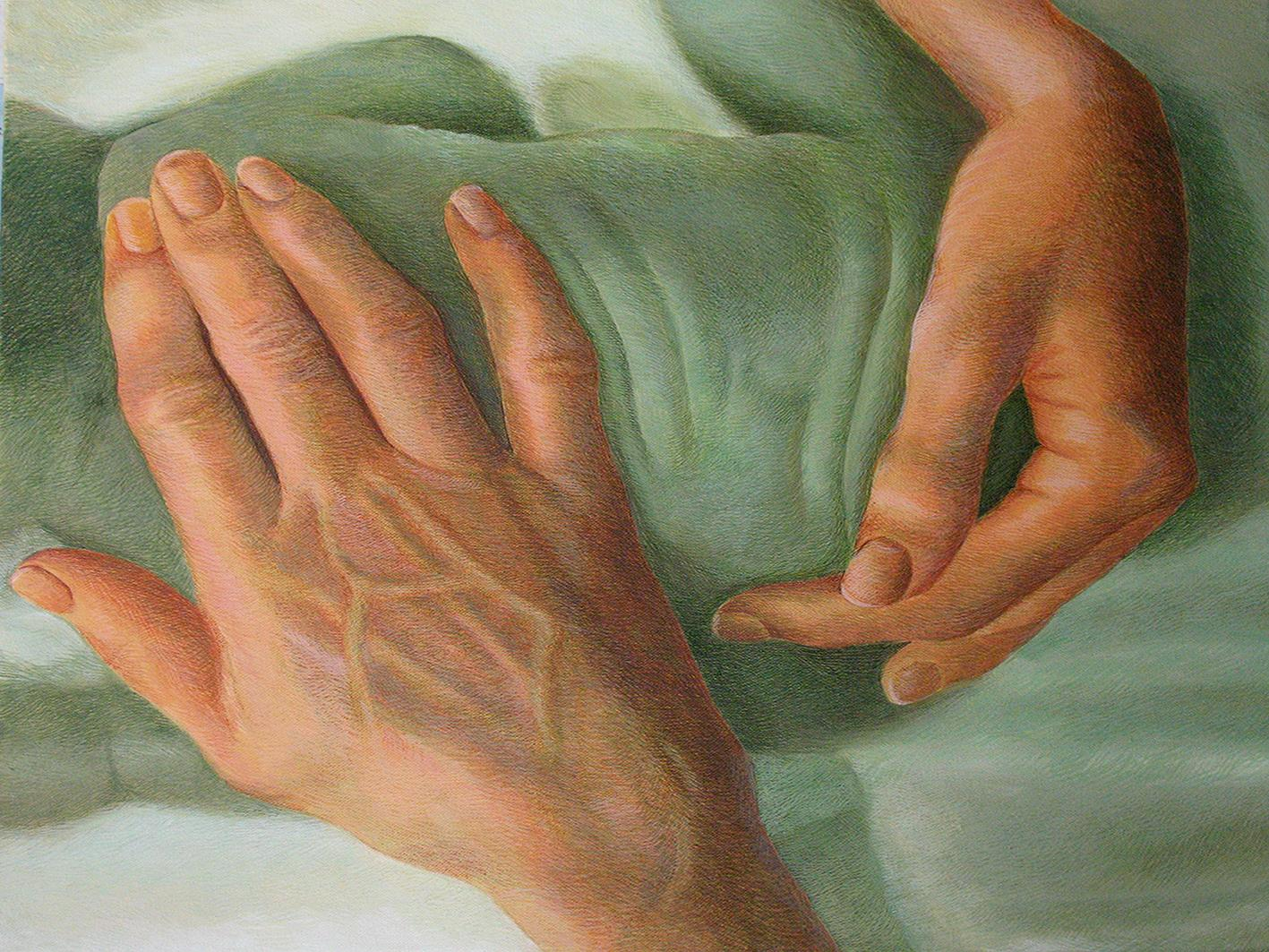 """Caring Hand, Love & Faith, Acrylic on Canvas, Green by Indian Artist """"In Stock"""""""