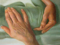 "Caring Hand, Love & Faith, Acrylic on Canvas, Green by Indian Artist ""In Stock"""
