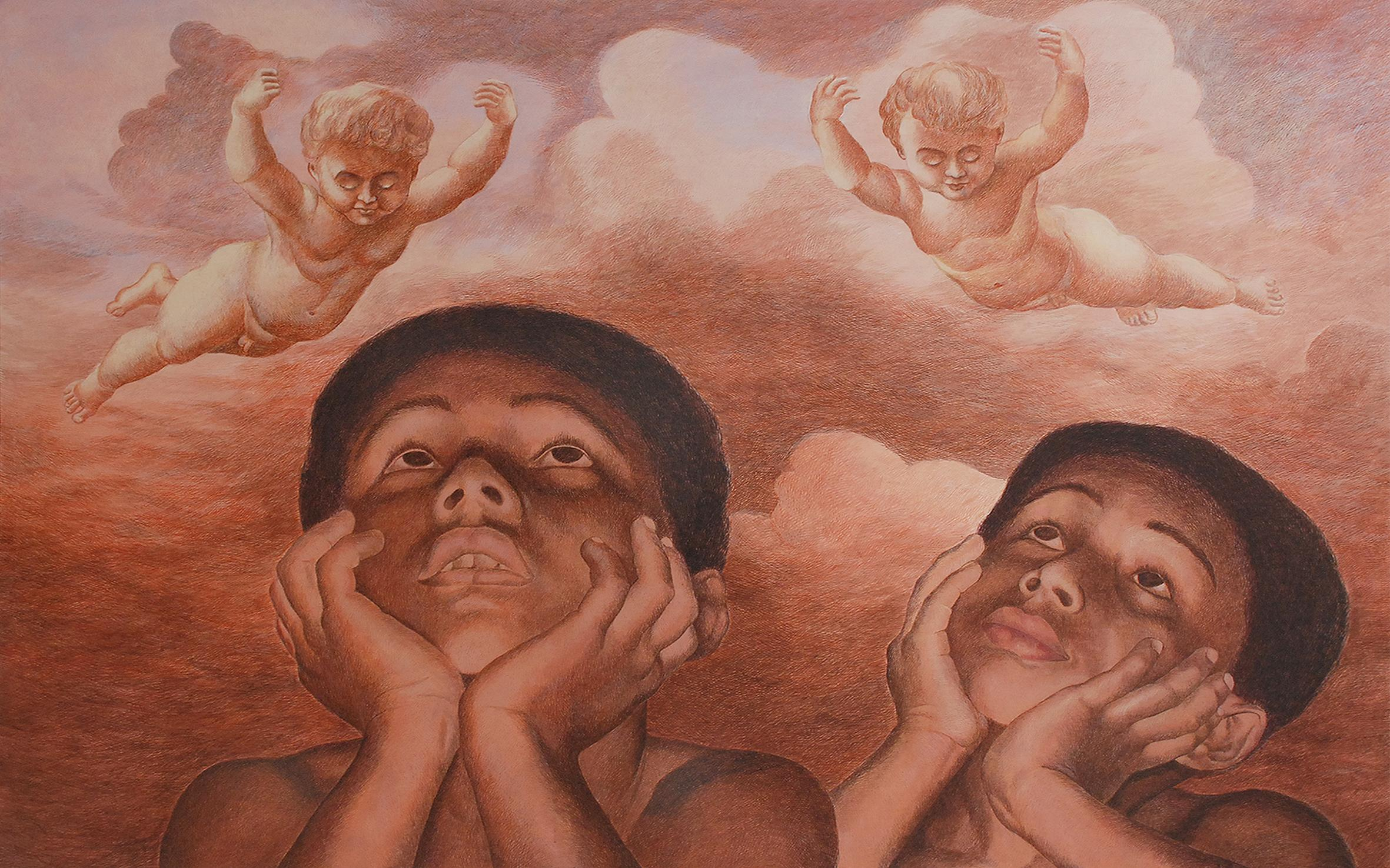 """Lost Childhood, Acrylic on Canvas, Brown by Indian Contemporary Artist""""In Stock"""""""