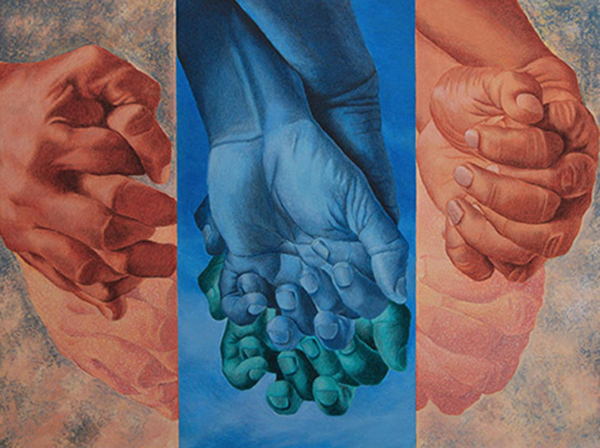 """Togetherness, Entwined Fingers, Acrylic, Charcoal on Canvas,Blue, Skin""""In Stock"""""""