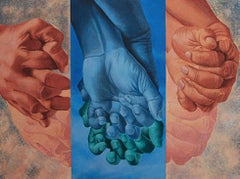 "Togetherness, Entwined Fingers, Acrylic, Charcoal on Canvas,Blue, Skin""In Stock"""