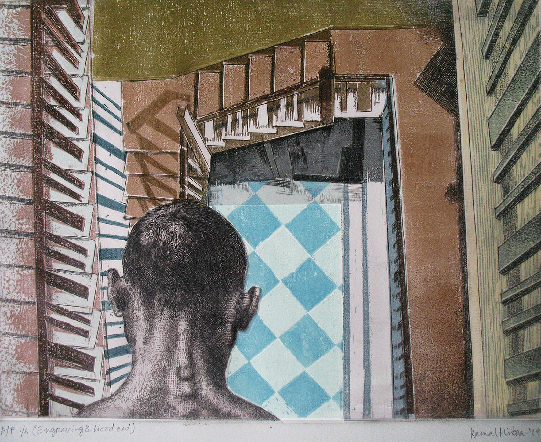 """Figurative, Engraving & Woodcut on paper, Blue, Grey by Indian Artist """"In Stock"""""""