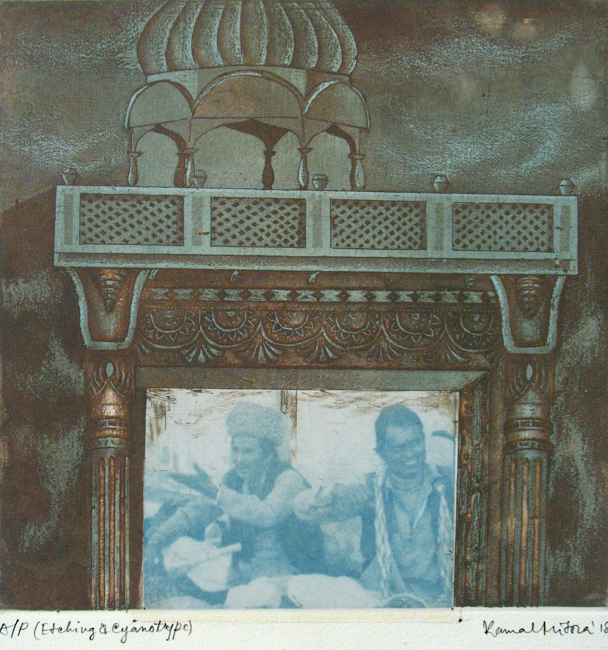 "Folk Singer, Etching, Cyanotype on paper, Blue, Green by Indian Artist""In Stock"""