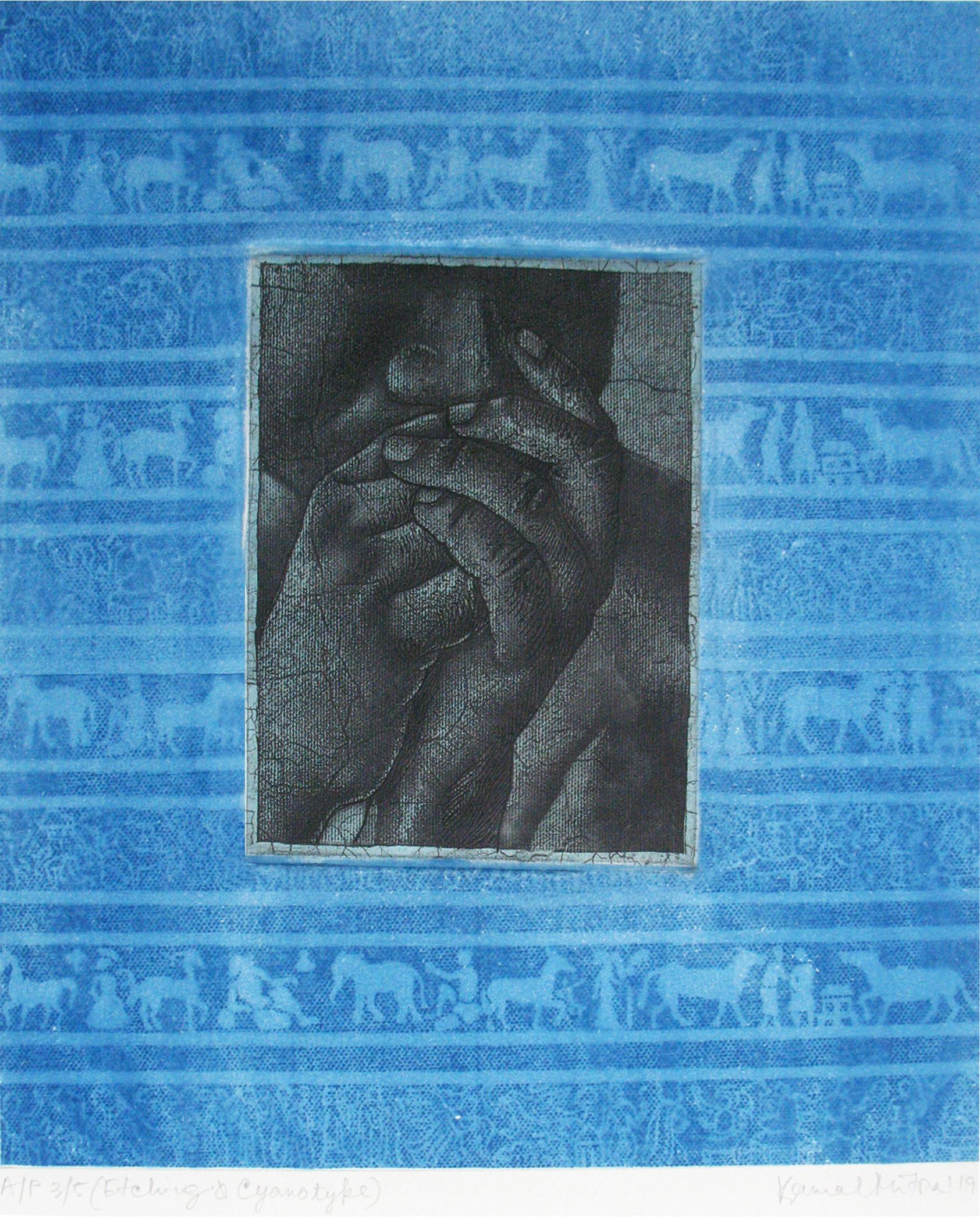 """Thinker, Etching & Cyanotype on paper, Blue, Grey by Indian Artist """"In Stock"""""""
