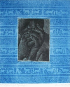 "Thinker, Etching & Cyanotype on paper, Blue, Grey by Indian Artist ""In Stock"""