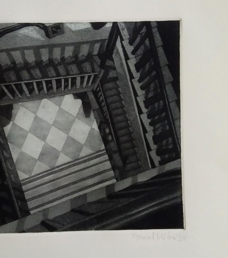 Decorative House, Etching on paper by Indian Contemporary Artist