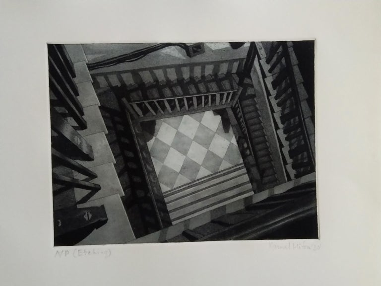 Kamal Mitra - Untitled -  10 x 13 inches (unframed size) Etching on Paper  Inclusive of shipment in a roll form.  About Kamal Mitra's Works : While pursuing his Bachelors (Painting) at the  Govt. College of Art & Craft, Mitra simultaneously was very