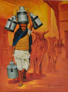 """The Milk Man, Oil & Acrylic on Canvas by Contemporary Indian Artist """"In Stock"""""""