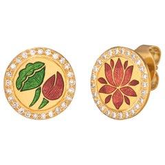 Kamala Earrings, 22 Karat Yellow Gold with Enamel and Diamond