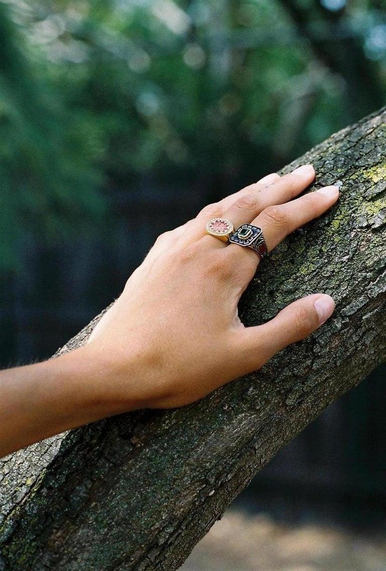 Kamala Ring with 31 Diamonds and Jaipur Enamel Lotus Motif, 22 Karat Yellow Gold For Sale 9