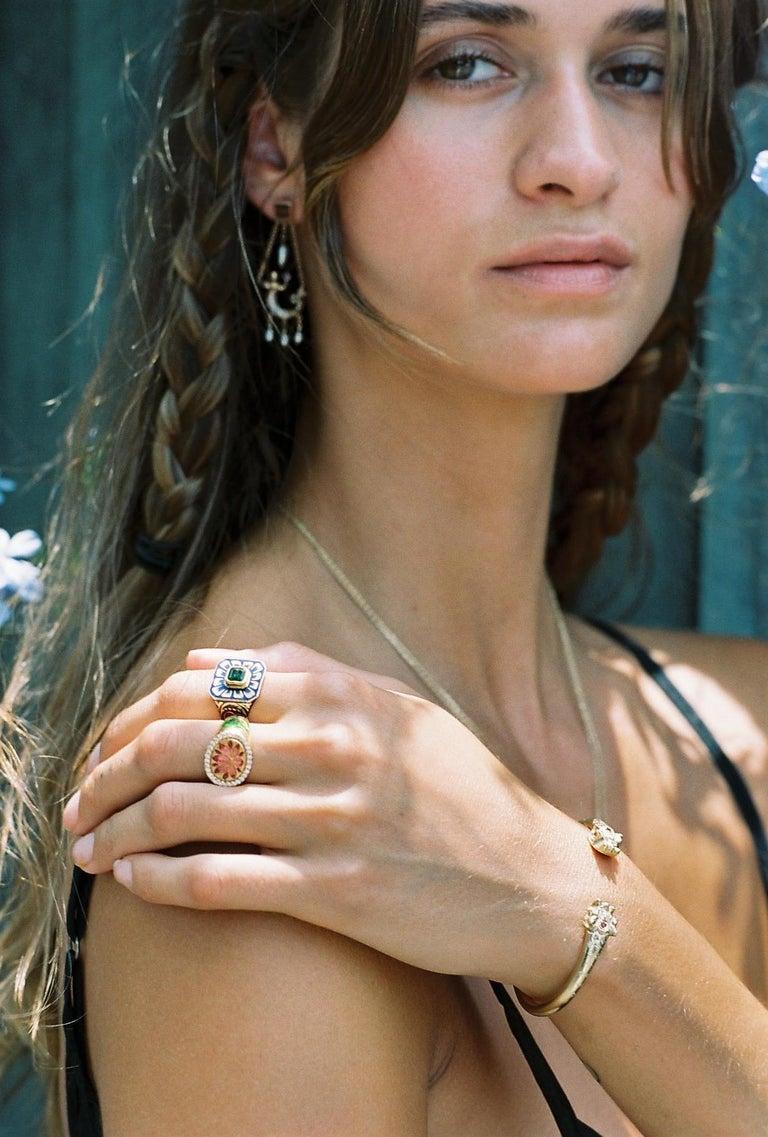 Kamala Ring with 31 Diamonds and Jaipur Enamel Lotus Motif, 22 Karat Yellow Gold For Sale 12