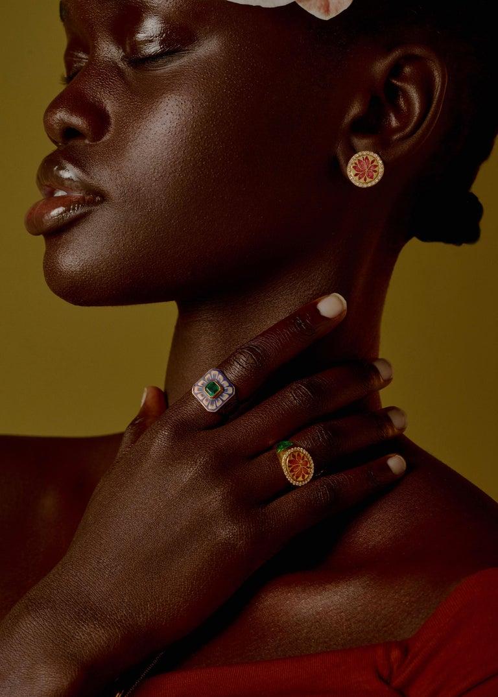 Kamala Ring with 31 Diamonds and Jaipur Enamel Lotus Motif, 22 Karat Yellow Gold For Sale 3
